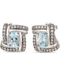 Le Vian 14k Vanilla Gold®, Sea Blue Aquamarine® & Chocolate Diamonds® Earrings