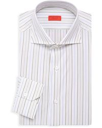 Isaia Contemporary-fit Striped Dress Shirt - White