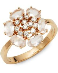 Hueb - 18k Rose Gold, Diamond & Quartz Ring - Lyst