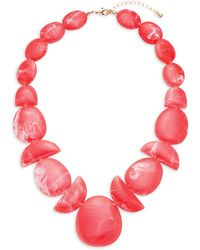 Ava & Aiden Goldtone Beaded Statement Necklace - Red