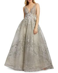 Mac Duggal Women's Embellished Deep V-neck Ball Gown - Sand - Size 10 - Natural
