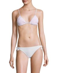 Kisuii Bella Triangle Smocked Bikini Top - White