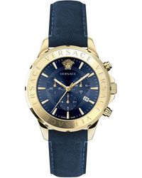 Versace Chrono Signature Goldtone Stainless Steel Leather Strap Watch - Multicolor