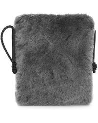 Lafayette 148 New York Shearling Crossbody Bag - Gray