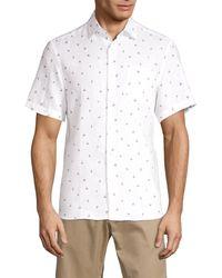 Saks Fifth Avenue Men's Flamingo-print Linen Shirt - Night Shadow - Size Xxl - White
