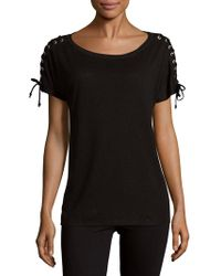 NYDJ - Greenwich Lace-up Sleeve Tee - Lyst