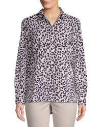 Ellen Tracy - Leopard-print Button-down Shirt - Lyst