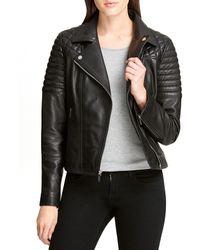 DKNY Quilted Leather Biker Jacket - Black