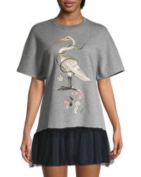 RED Valentino Women's Embroidered Mesh-flounce Sweatshirt - Melange Grey - Size Xs