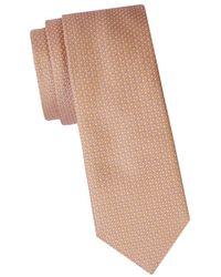 Ferragamo Men's Geometric-print Silk Tie - Orange