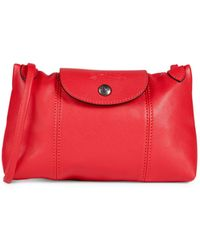 Longchamp Mini Leather Crossbody Bag - Red