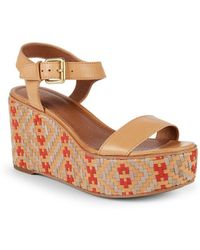 Frye - Heather Woven Leather Wedge Sandals - Lyst