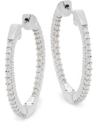 Saks Fifth Avenue 14k White Gold Diamond Hoop Earrings - Multicolour
