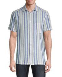 Karl Lagerfeld Men's Striped Linen-blend Shirt - Blue - Size S