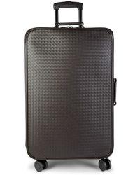 Bottega Veneta Woven Leather Suitcase - Espresso - Brown