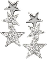 CZ by Kenneth Jay Lane Rhodium-plated & Crystal Pavé Star Drop Earrings - Multicolour