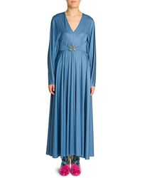 Valentino Embellished-griffon Fluid Jersey Gown - Blue