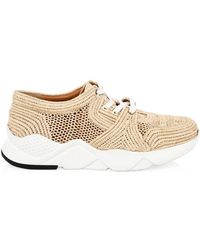 Clergerie Raffia Woven Sneakers - Natural