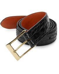 Saks Fifth Avenue Boxed Crocodile Skin Belt - Black