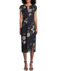 ML Monique Lhuillier Floral Midi Dress - Multicolor