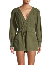 Free People Women's Beside You Cotton Shortall - Olive - Size Xl - Green