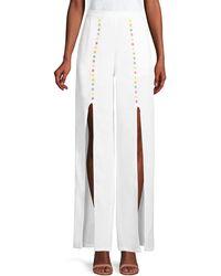 All Things Mochi Gaho Flower Slit Linen Pants - White