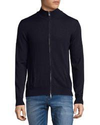 J.Lindeberg Merino Wool Zip-up Cardigan - Blue