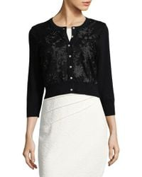 Karl Lagerfeld - Embroidered Buttoned Cardigan - Lyst