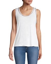 Generation Love Zia Crystal Studded Linen-blend Tank Top - White
