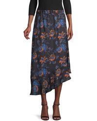Ava & Aiden Women's Floral Asymmetric Skirt - Black Desert Floral - Size L