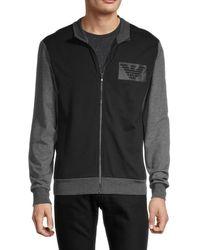Emporio Armani Men's Colorblock Logo Zip-front Jacket - Black - Size S