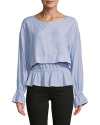 Cupcakes And Cashmere Pinstriped Peplum Top - Blue