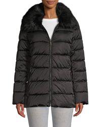 T Tahari Faux Fur-trim Puffer Jacket - Black