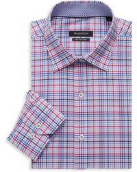 Bugatchi Regular-fit Check Dress Shirt - Pink
