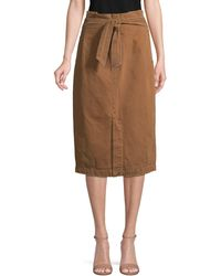 Free People Tie-front Cotton Knee-length Skirt - Brown