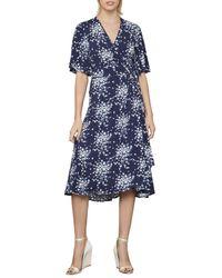BCBGMAXAZRIA Women's Floral-print Faux Wrap Dress - Pacific Blue - Size Xs