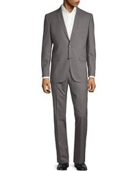 Kenneth Cole Slim-fit Chequered Wool Suit - Gray