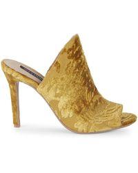 Ava & Aiden Open Toe Velvet Stiletto Sandals - Blue