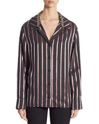 Alexander Wang Crystal-trim Striped Pyjama Top - Purple
