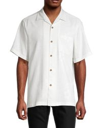 Tommy Bahama Men's Down The Hatch Silk Camp Shirt - Continental - Size Xs - White