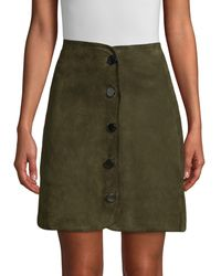 Elie Tahari Ginger Suede Skirt - Green