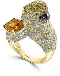 Effy Hematian Rhodium-plated 14k Yellow Gold, Citrine, Tsavorite & Diamond Parrot Ring - Metallic