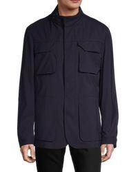 Corneliani Men's Connected Wool-blend Field Jacket - Navy - Size 58 (48) R - Blue