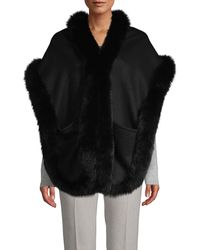 La Fiorentina Fox Fur-trim Wool-blend Wrap - Black