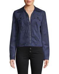 Bagatelle Zip-up Faux Suede Trucker Jacket - Blue