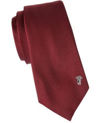 Versace Men's Solid Silk Tie - Bordeaux - Multicolour