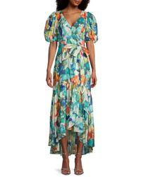 Parker Marcel Printed High-low Dress - Blue