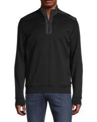 BOSS by Hugo Boss Men's Sidney Quarter-zip Pullover - Black - Size S