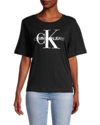 Calvin Klein Women's Logo Graphic T-shirt - Black White - Size Xl