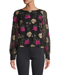 Cupcakes And Cashmere Coby Embroidered Blouse - Black